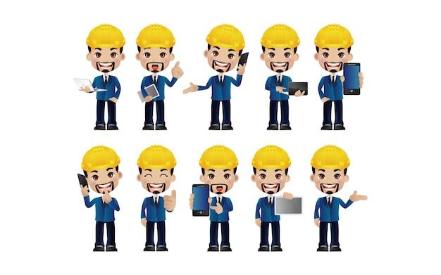 Ingenieur. menschen mit unterschiedlichen posen.
