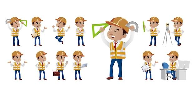 Ingenieur mit verschiedenen posen