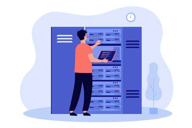 Ingenieur untersucht internet-server-ausrüstung