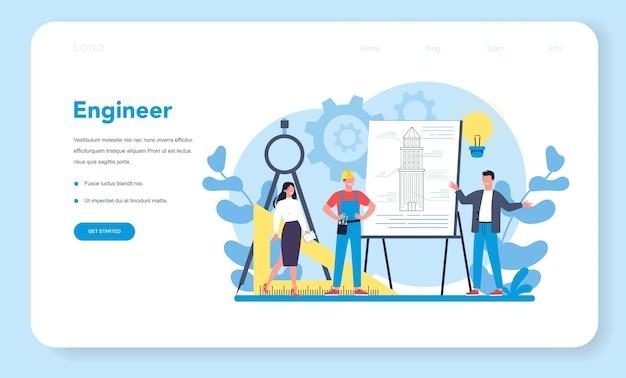 Ingenieur-webbanner oder zielseite Premium Vektoren