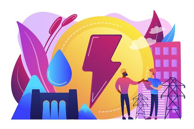 Ingenieure, die am wasserkraftdamm arbeiten und fallende wasserenergie produzieren. wasserkraftstrom, wasserkraft, konzept für erneuerbare quellen.