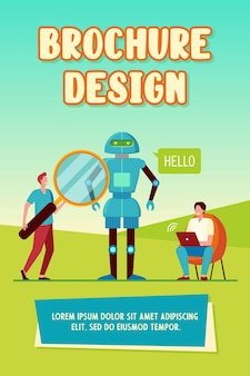 Ingenieure, die roboterbroschürenschablone erstellen