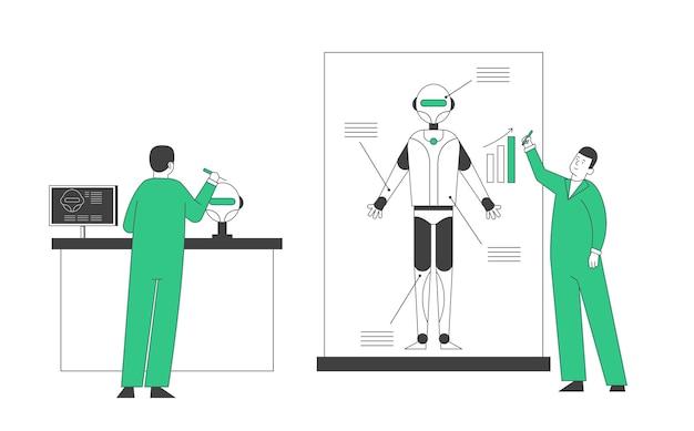Ingenieure erstellen roboter im labor.