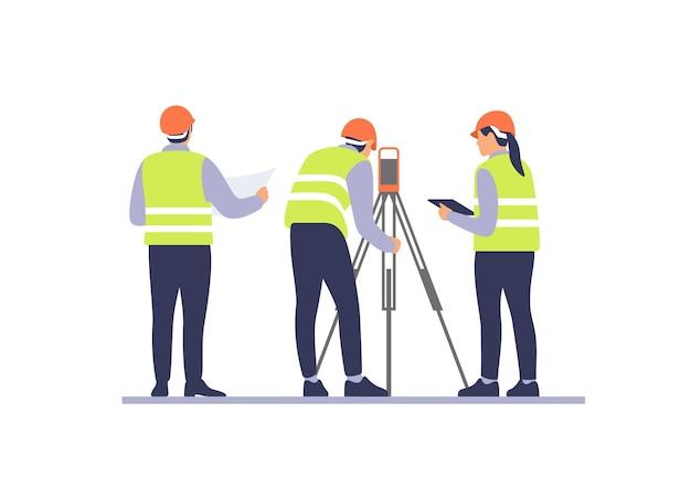 Ingenieure mit ausrüstung auf der baustelle vector illustration
