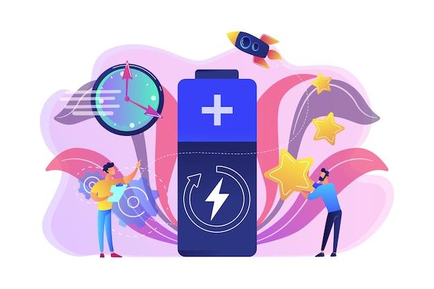 Ingenieure mit batterieladung, uhr und sternen mit rakete. schnellladetechnologie, schnellladebatterien, neues konzept der batterietechnik. helle lebendige violette isolierte illustration