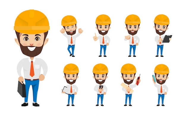 Ingenieurleute-industriecharakter im besetzungsjob.