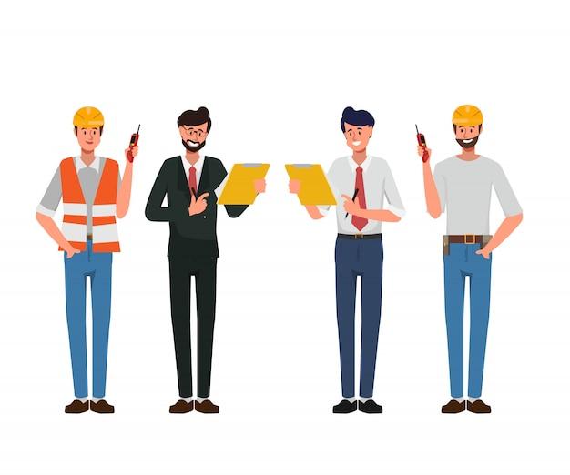 Ingenieurleute-industriecharakter und mechanisch im besetzungsjob.