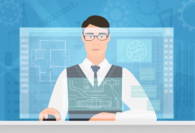 Ingenieurmann, der unter verwendung der schnittstelle des virtuellen arbeitsplatzes arbeitet