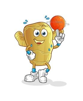 Ingwer, der basketball-karikaturmaskottchen spielt