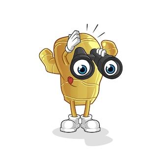 Ingwer mit fernglas charakter maskottchen