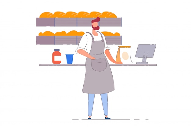 Inhaber eines bäckereigeschäfts. bäcker person mann arbeitet an bäckerei einzelhandelsgeschäft kasse. brotlaibe in regalen. konzept für kleinunternehmer