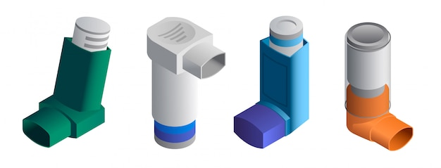 Inhalator icons set. isometrischer satz inhalatorvektorikonen lokalisiert