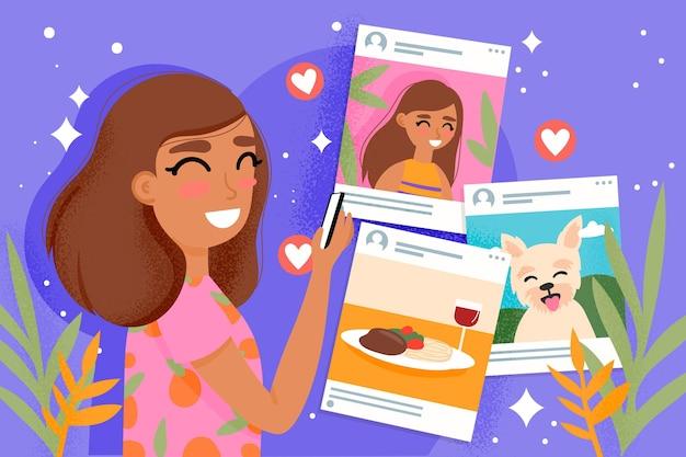 Inhalte auf social media-konzept mit frau teilen
