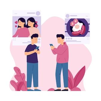 Inhalte in sozialen medien mit menschen teilen