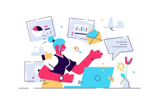 Inhaltsmanager bei der arbeit handgezeichnete illustration. weibliches multitasking-fähigkeitskonzept. das junge mädchen, das smm-strategie verwaltet, verarbeitet zeichentrickfigur. freiberuflicher mitarbeiter mit e-mail-marketing-analyse beschäftigt.