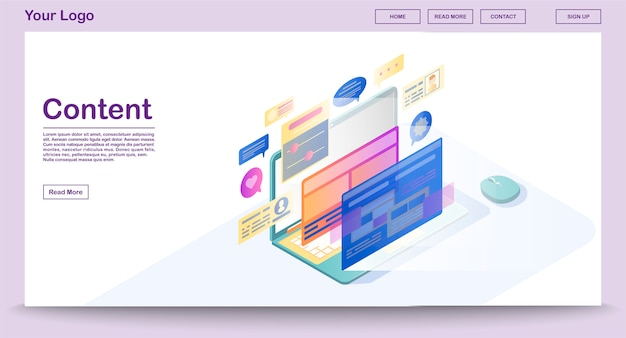 Inhaltswebseitenvektorschablone mit isometrischer illustration