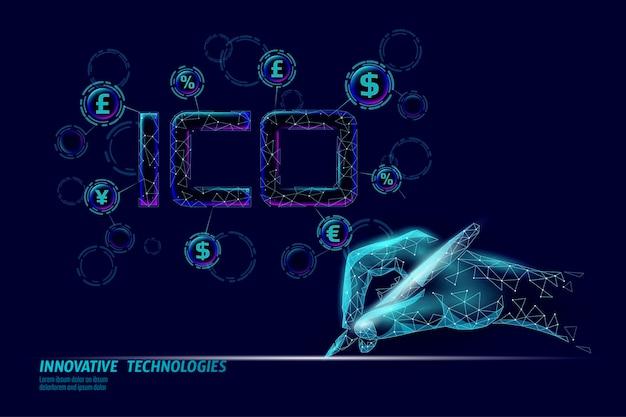 Initial coin mit ico-buchstaben technologiekonzept business finance economy low-poly-design-stil währung krypto-banking online-angebot internet-commerce-blockchain-vektor-illustration