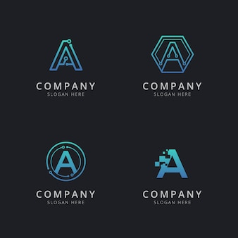 Initial ein logo mit technologieelementen in blauer farbe