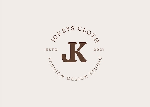 Initial jk brief logo design template, vintage style, vector illustrations