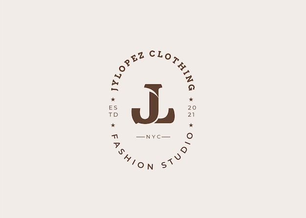 Initial jn brief logo design template, vintage style, vector illustrations