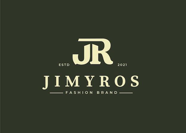 Initial jr brief logo design template, vector illustrations