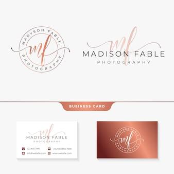 Initial mf feminine logo kollektionsvorlage