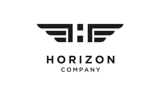 Initial / monogramm h mit wings logo design