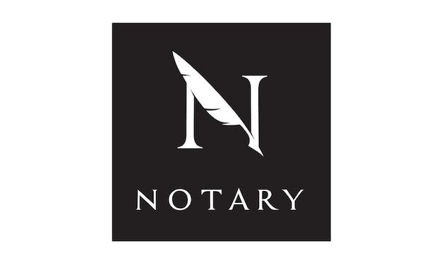 Initial / monogramm n für notar-logo