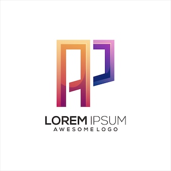 Initiale ap-logo-buchstabe bunter farbverlauf abstrakt