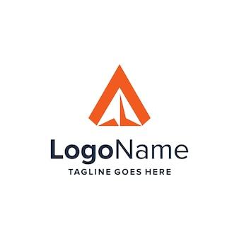 Initialen buchstabe a und negative raumebene einfaches schlankes kreatives geometrisches modernes logo-design