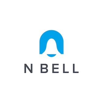 Initialen buchstabe n mit glockenbenachrichtigung einfaches schlankes kreatives geometrisches modernes logo-design