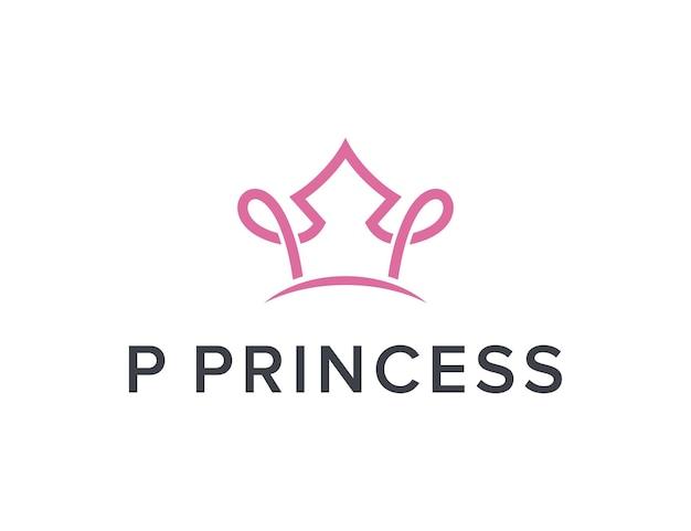 Initialen buchstabe p mit kronprinzessin einfaches schlankes kreatives geometrisches modernes logo-design