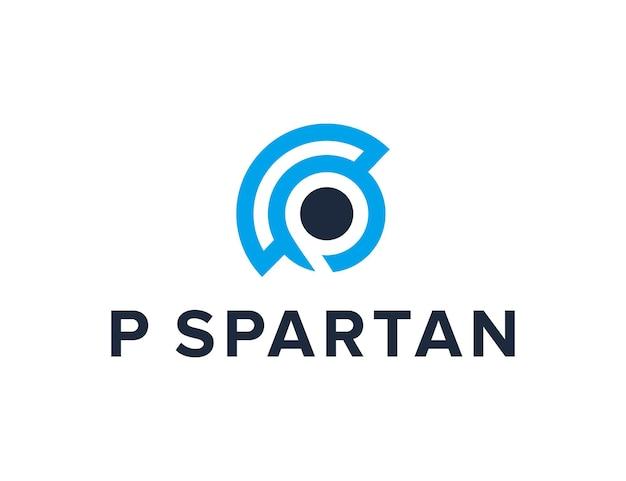 Initialen buchstabe p und spartanischer helm einfaches schlankes kreatives geometrisches modernes logo-design