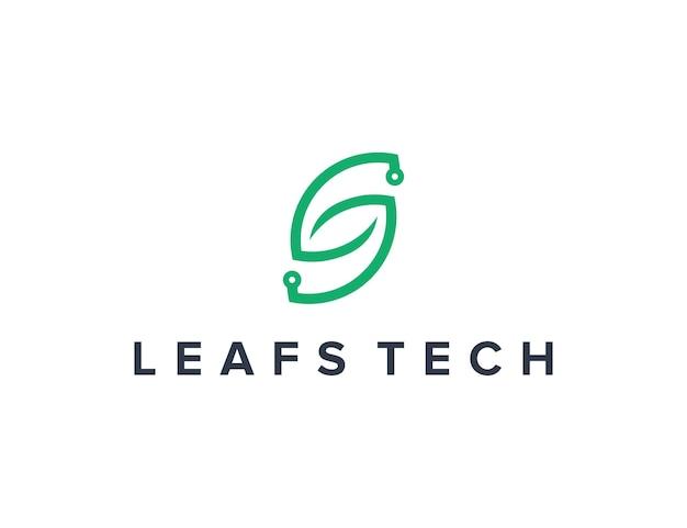 Initialen buchstabe s und blattumriss für technologie einfaches schlankes kreatives geometrisches modernes logo-design