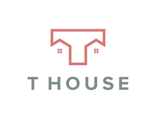 Initialen buchstabe t häuser umreißen einfaches schlankes kreatives geometrisches modernes logo-design