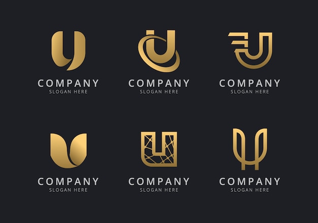 Initialen u-logo-vorlage mit einer goldenen stilfarbe für das unternehmen
