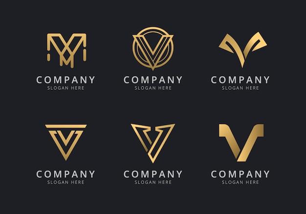 Initialen v logo vorlage mit einer goldenen stilfarbe für das unternehmen