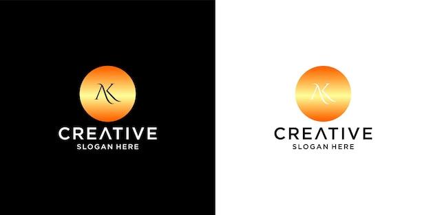 Initiales ak-logo mit visitenkartenvorlage