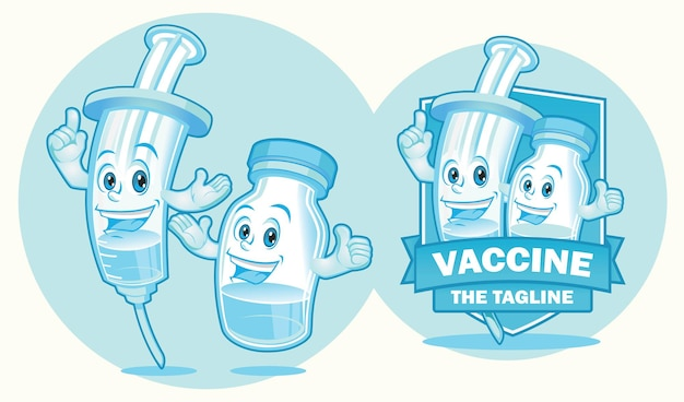 Injektor und impfstoffflasche maskottchen