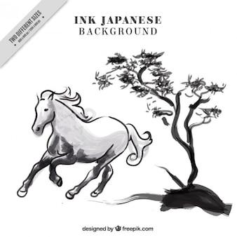 Ink japanischer hintergrund