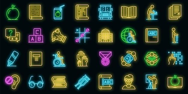 Inklusive bildung icons set. umrisse von inklusiven bildungsvektorsymbolen neonfarbe auf schwarz