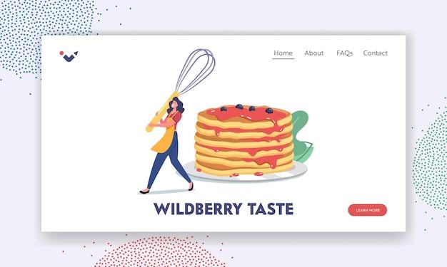 Inländische kulinarik, bäckerei-landing-page-vorlage. weibliche figur, die mahlzeit für die familie kocht, kleine frau in schürze mit schneebesen in der nähe von pfannkuchenstapel, gebackenes essen zum frühstück. cartoon-vektor-illustration