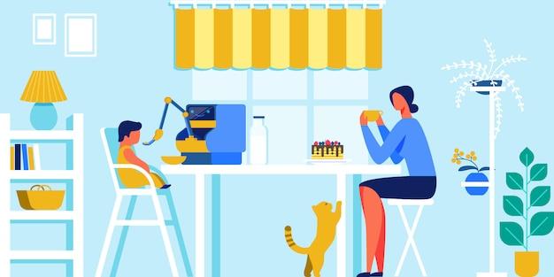 Inländischer roboter, der kleines baby auf küche einzieht