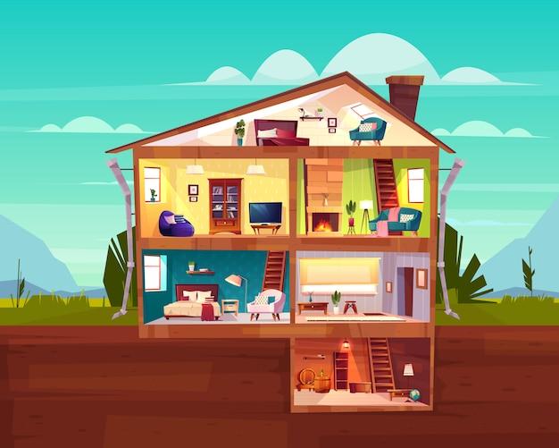 Innen-karikaturvektor des zweistöckigen häuschenhausquerschnitts mit geräumiger halle