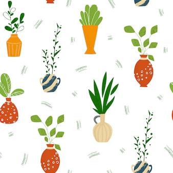 Innen topf topfpflanzen oder hausblumen nahtloses muster auf weiß.