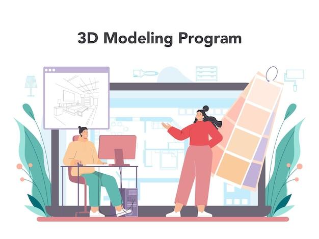 Innenarchitekten-online-service oder plattform-dekorateur, der das design plant