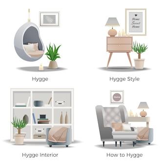 Innenarchitektur-bannersammlung des hygge-stils