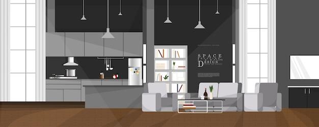 Innenarchitektur des entspannenden wohnraums der karikatur, design der familienbeziehungselemente