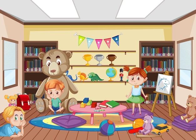 Innenarchitektur des kindergartenraums mit kindern