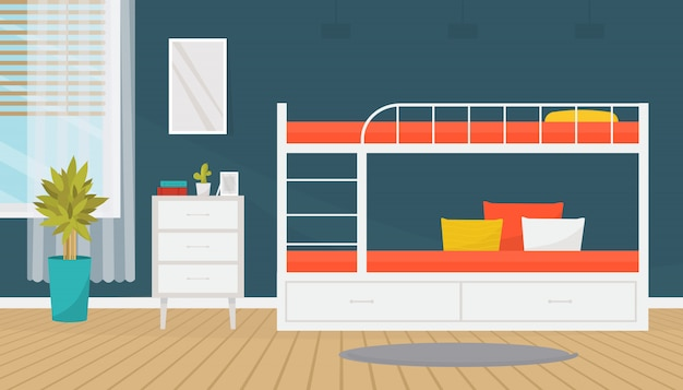 Innenarchitektur des modernen jugendlich- oder studentenraumes mit etagenbett und kommode. gemütliche wohnung. home design. flache abbildung.